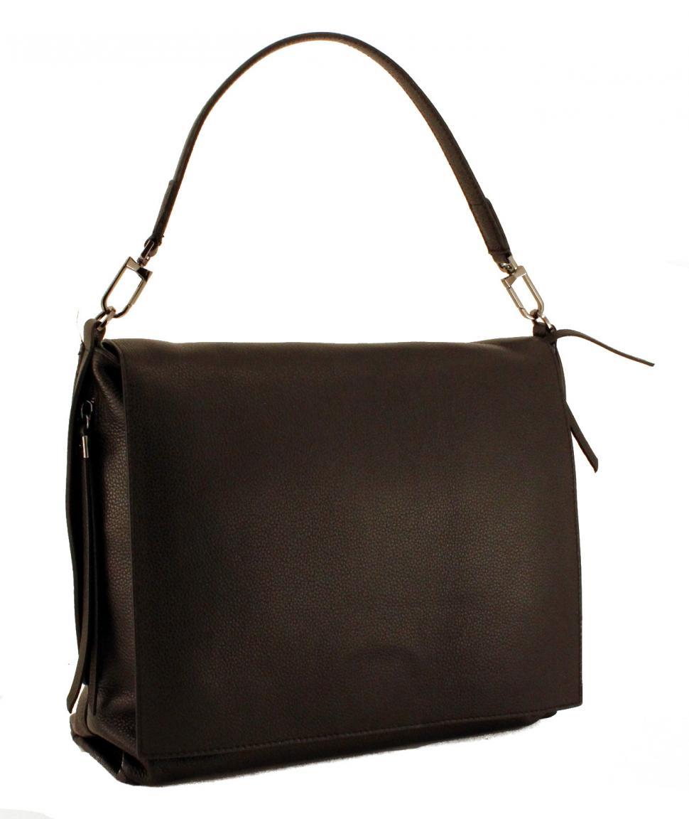 Gianni Chiarini Überschlagtasche Seitentaschen Leder Nero Schwar