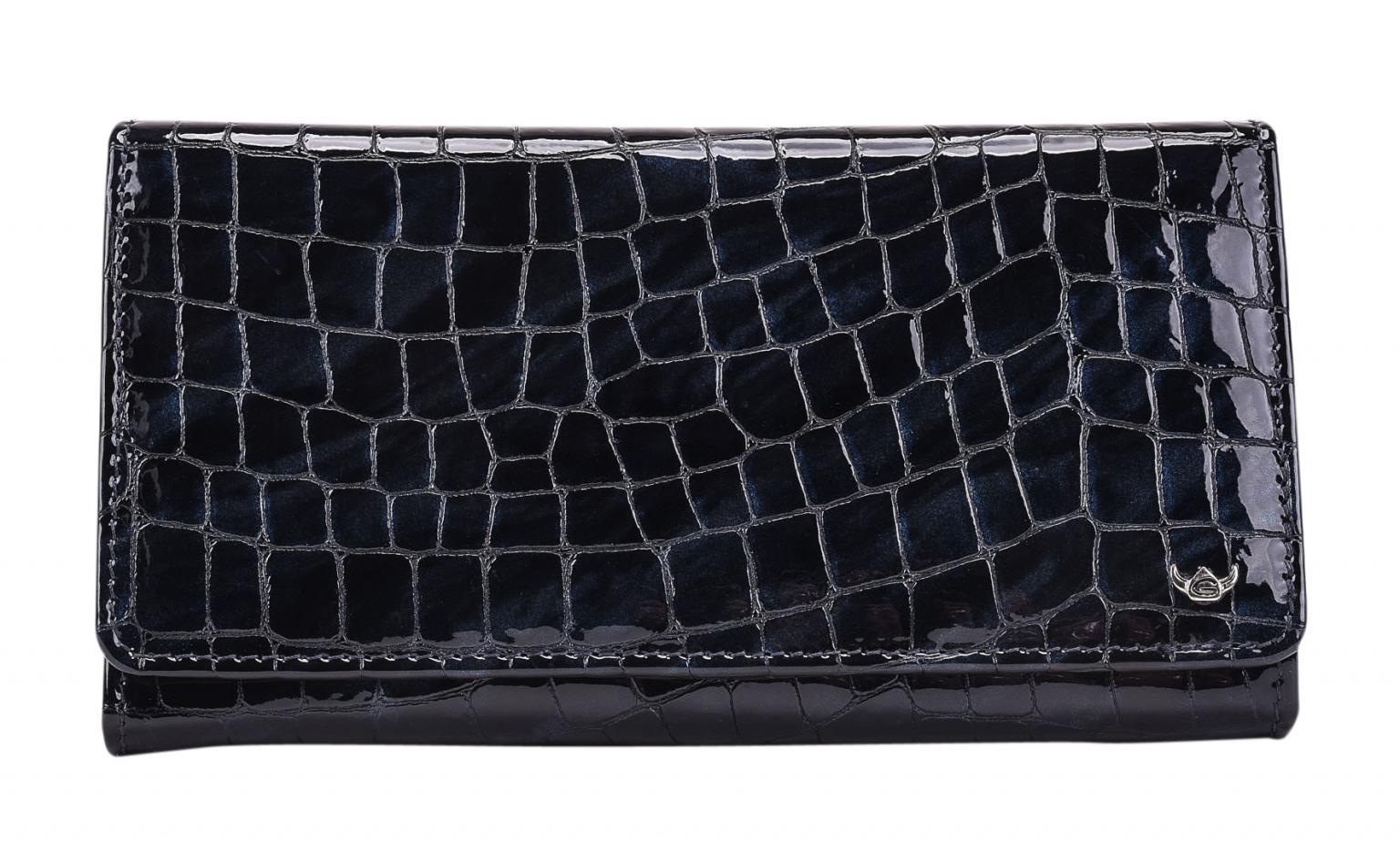 Golden Head Cayenne Überschlagbörse nachtblau Lack Kroko