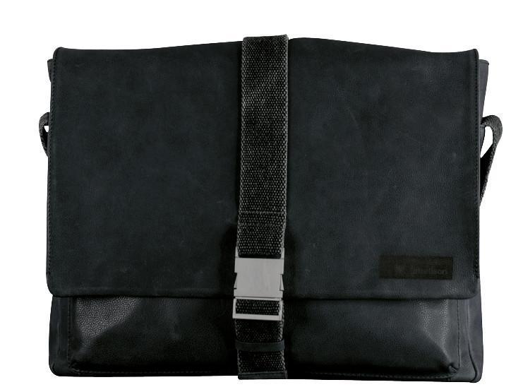 Goldhawk Klickverschluss Leder schwarz Collegetasche Strellson