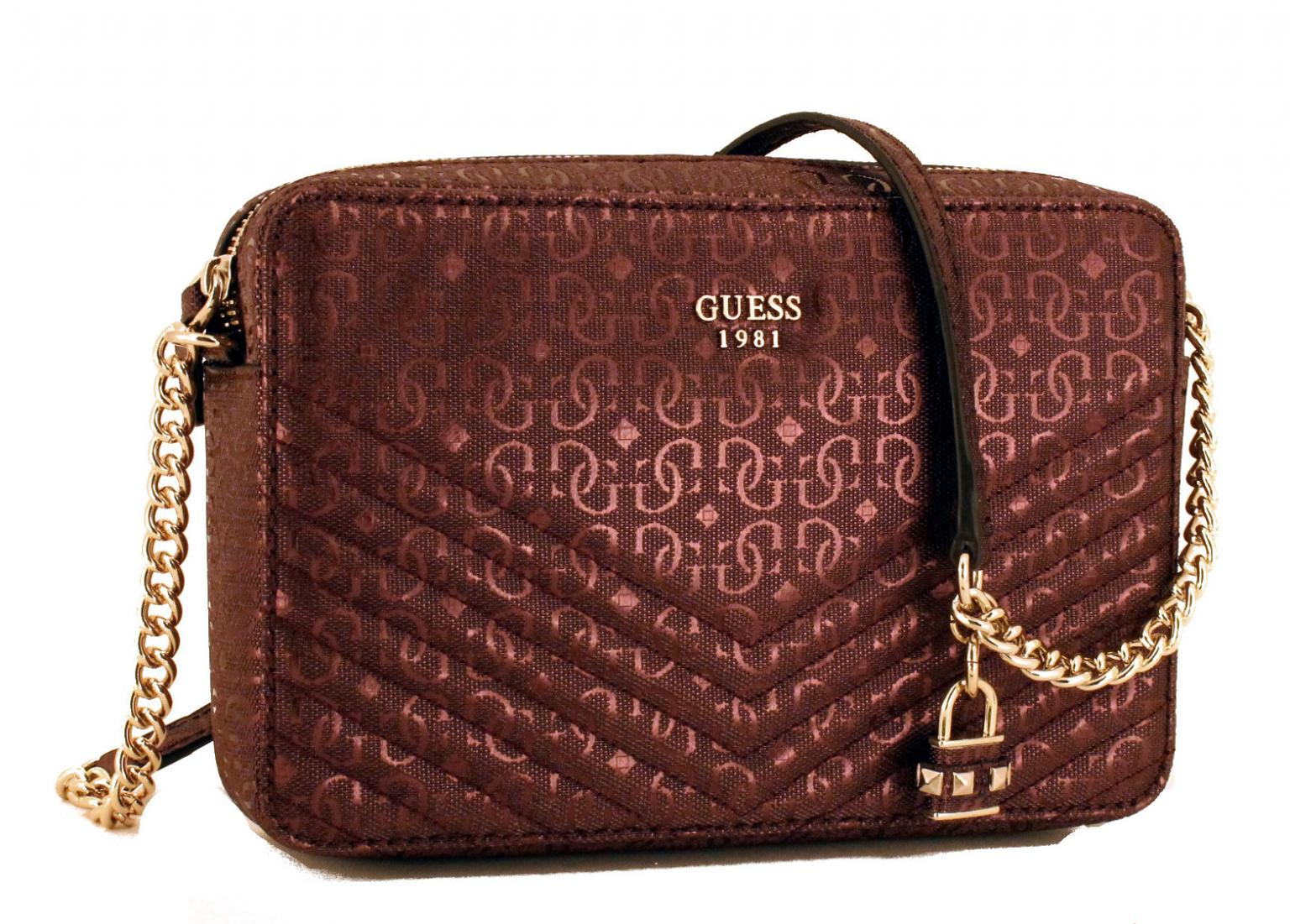 Guess Handtasche Halley Bordeaux Rot Kette Gold - Bags & more