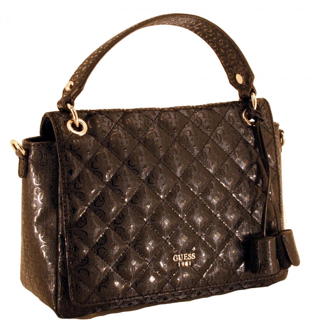 guess handtasche seraphina glanz karo schwarz bags more. Black Bedroom Furniture Sets. Home Design Ideas