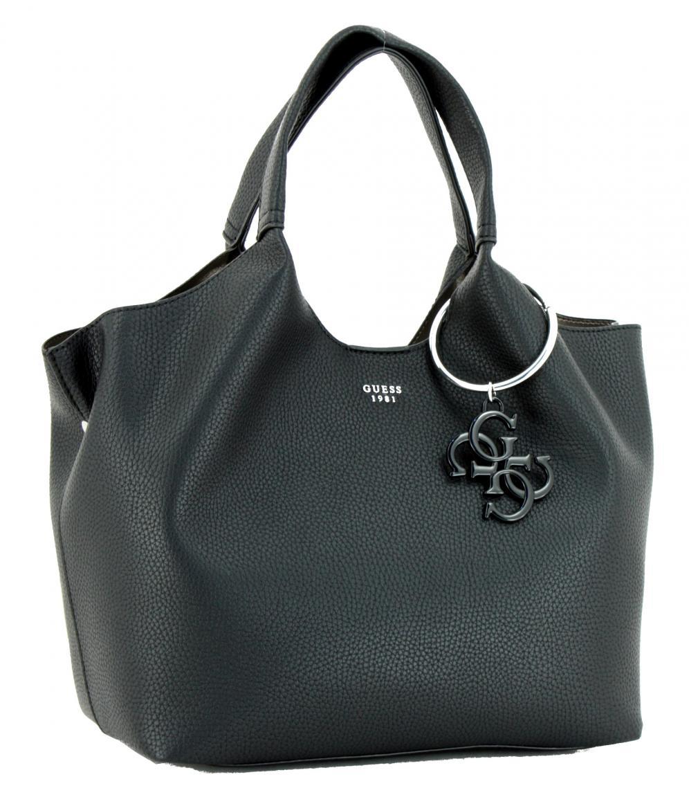 32d24dd65277f Guess Henkeltasche Flora schwarz Anhänger - Bags   more