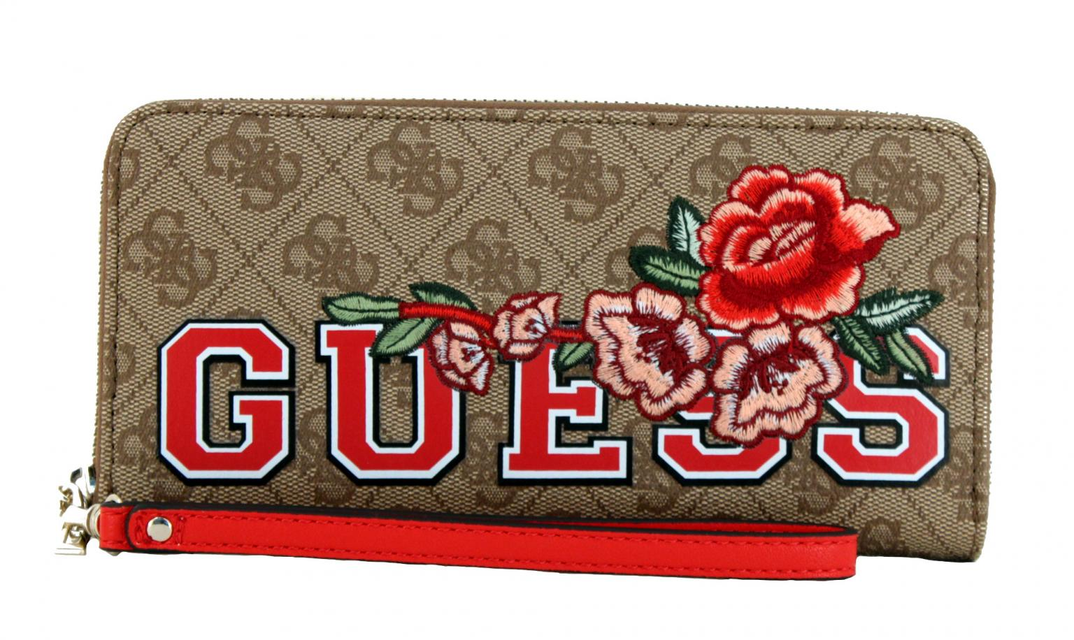 96f7bd40e514 Guess Vikky Portemonnaie Logo Floral bestickt Blumen braun - Bags   more
