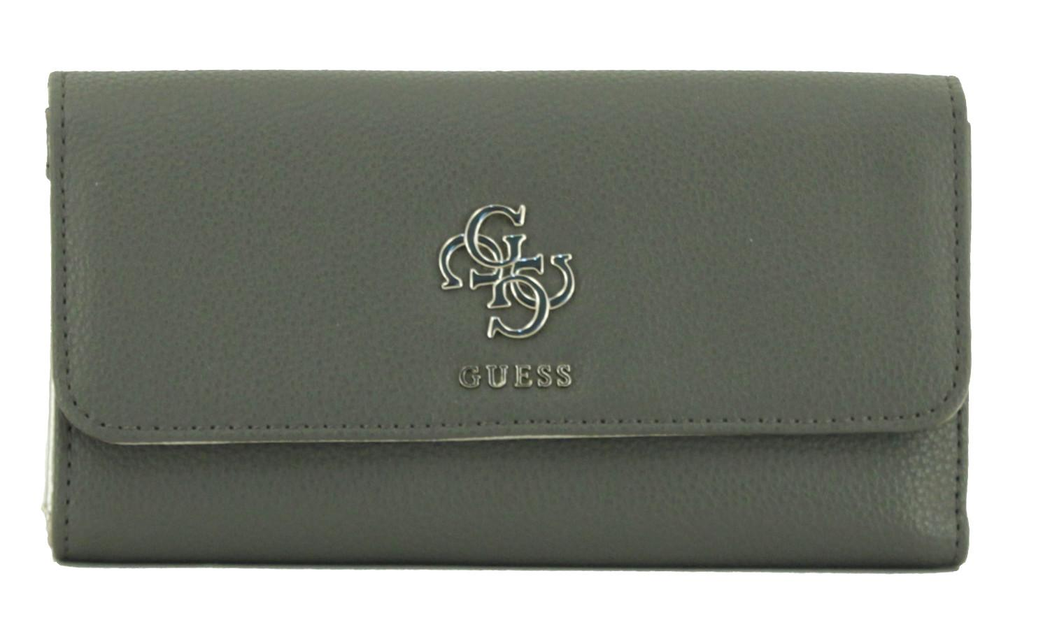 Guess Damenbrieftasche Digital Taupe grau gold 4G Emblem