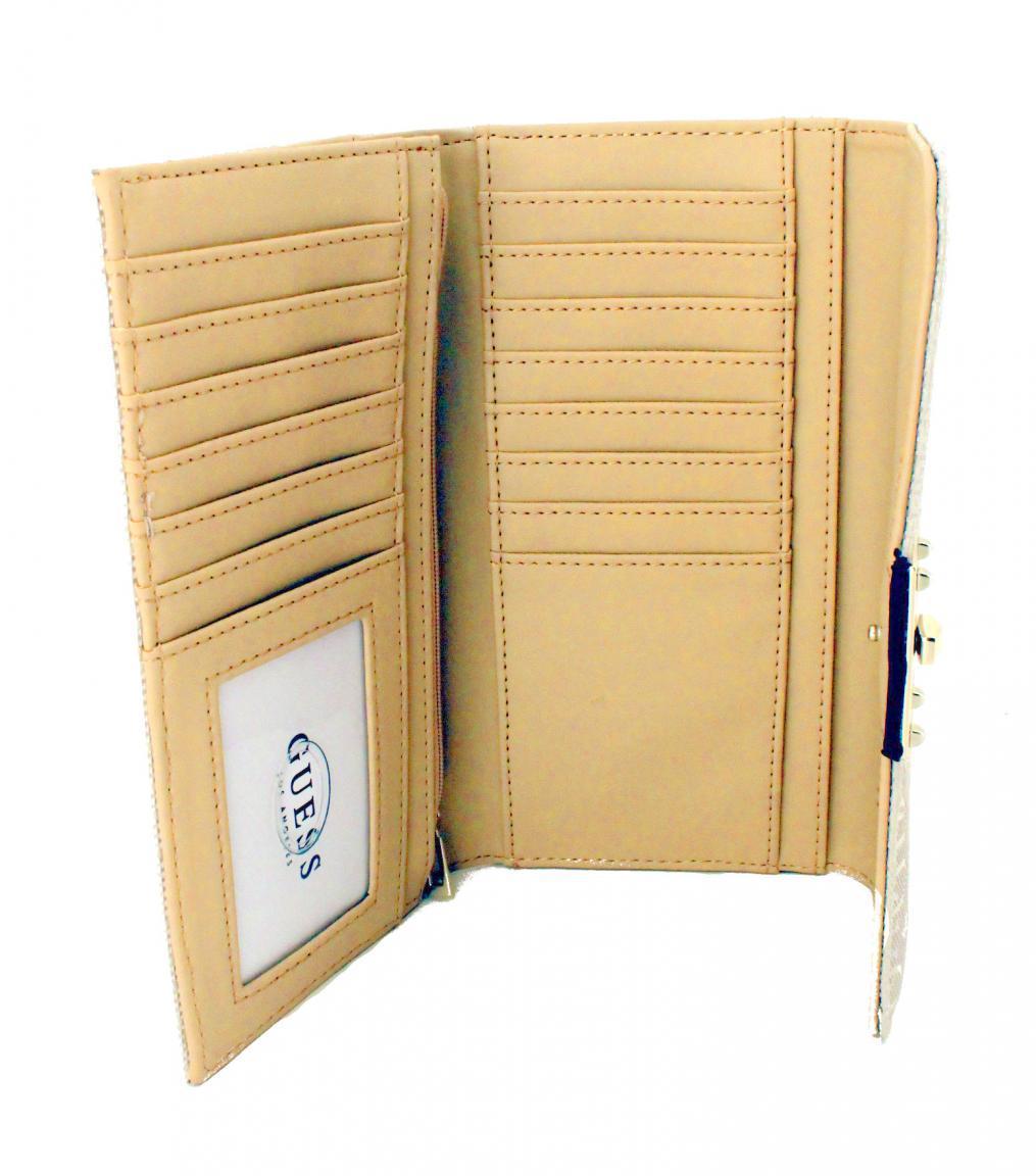 Guess Damengeldtasche Digital Olive grün viele Kartenfächer