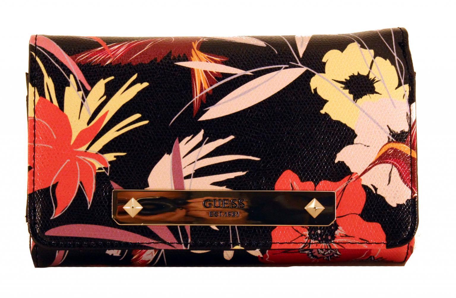Guess Geldbörse Überschlag Britta SLG BLK Floral Blumen