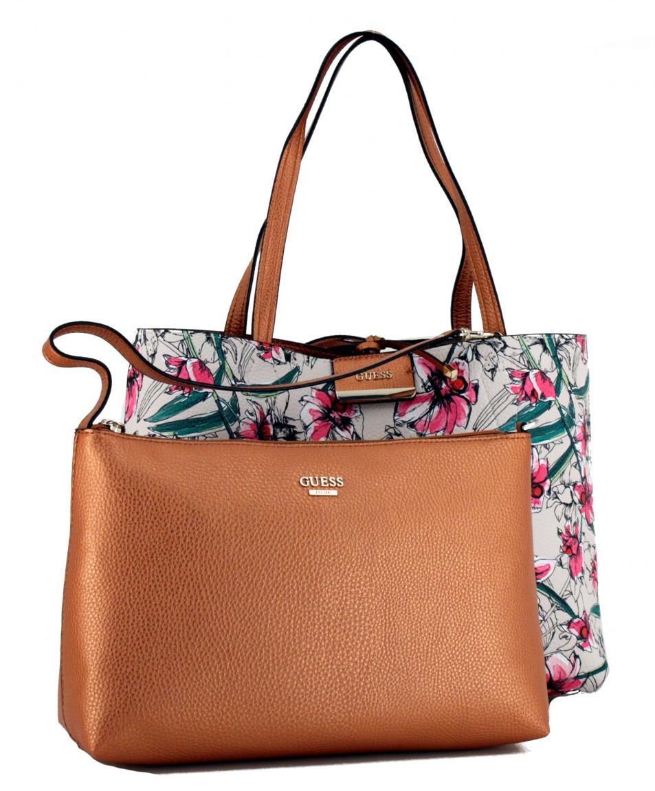 Guess Reversible Tote Bag Bobbi Copper Floral metallic Blumen