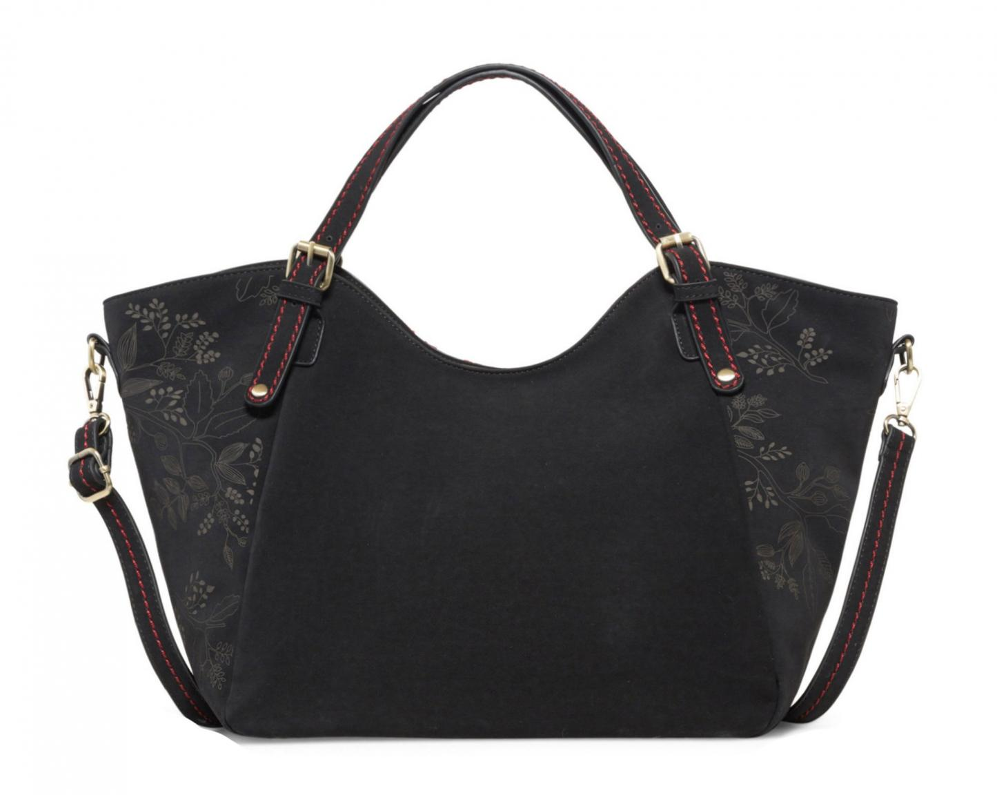 Handtasche Desigual Cozy Rotterdam schwarz rot Filz geprägt