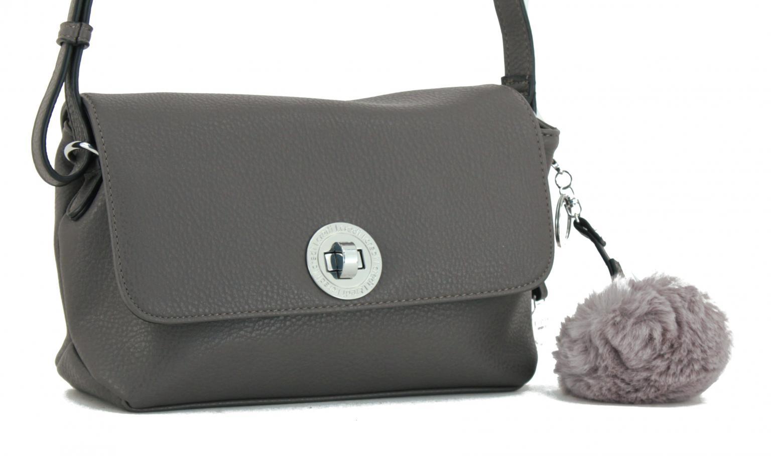Handtasche L.Credi Munich Belvedere Fake Fur grau Anhänger