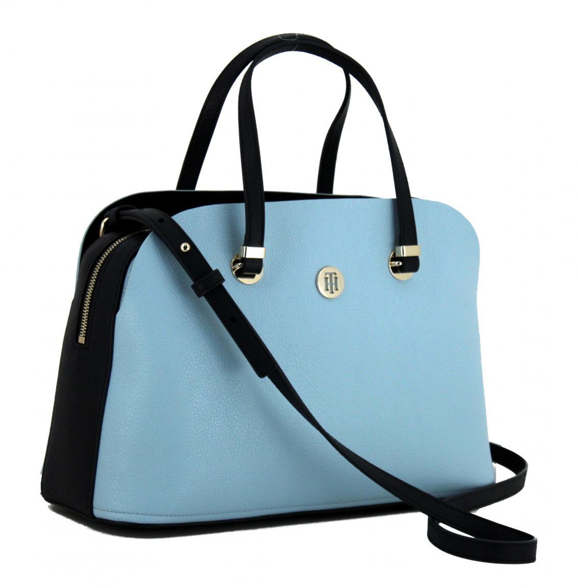 Handtasche Tommy Hilfiger Core Satchel hellblau Schultergurt