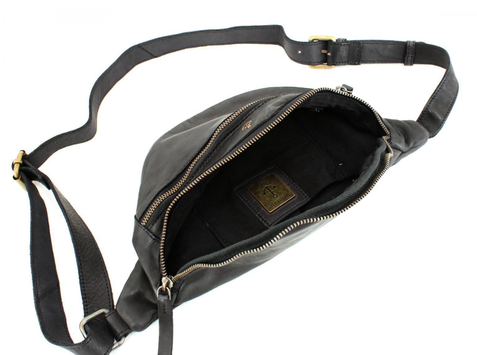 Harbour 2nd Huckleberry Hüfttasche Leder ASH schwarz