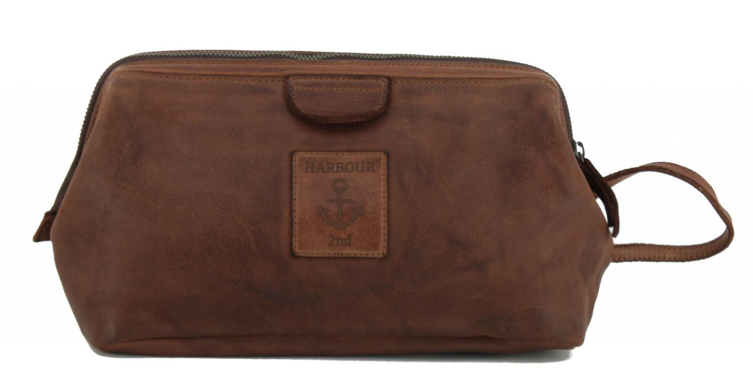 Harbour 2nd Kit Waschbeutel Cognac braun Reißverschluss Leder