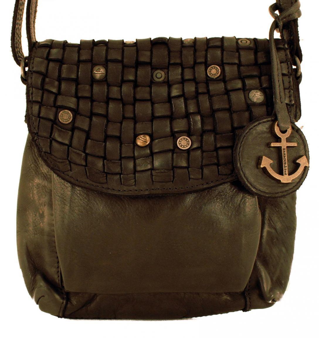 Harbour2nd Mamamia Tasche Überschlag Flecht schwarz