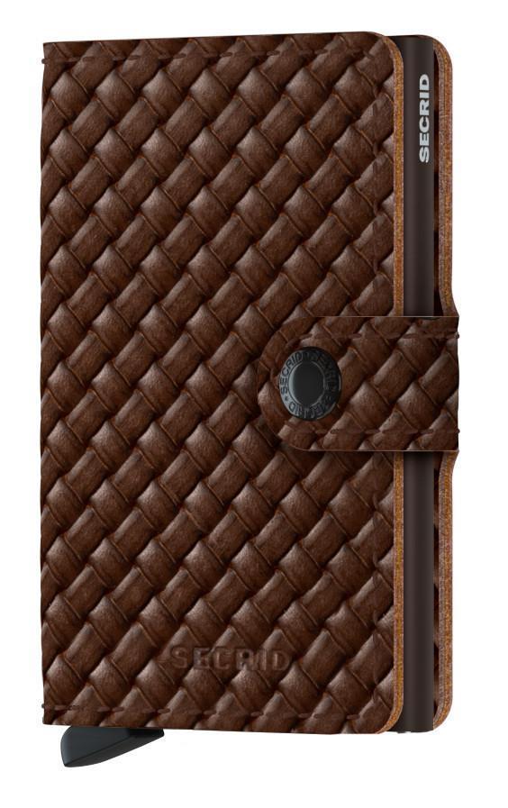 Herrenbörse Secrid Miniwallet Basket Brown Flechtoptik RFID