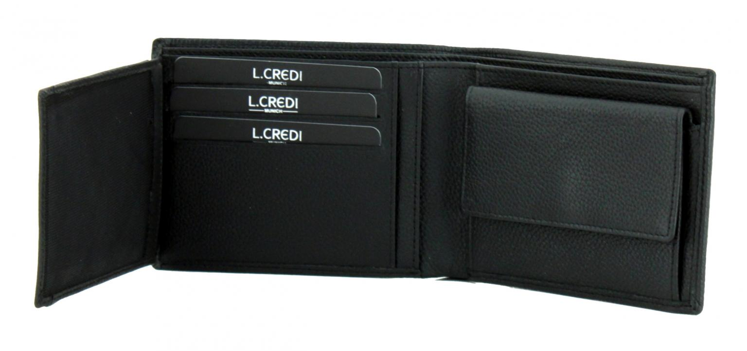 Herrenportemonnaie L.Credi Alfredo schwarz Leder klappbar