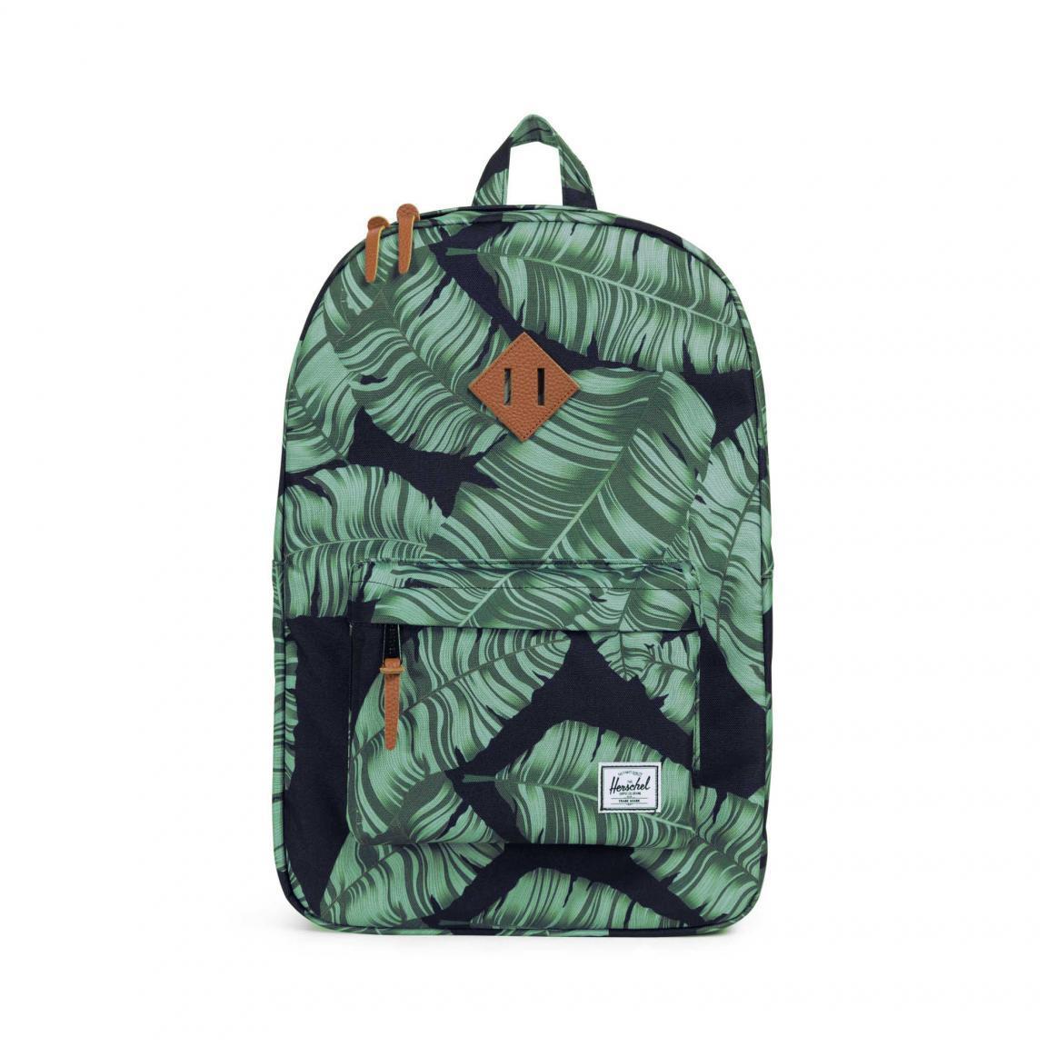 Herschel Heritage Schulrucksack grün schwarz Blätter