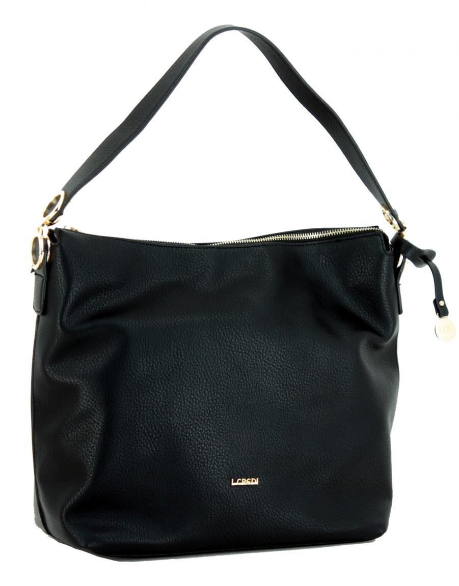 Hobo Bag Bonnie L.Credi schwarz gold Anhänger