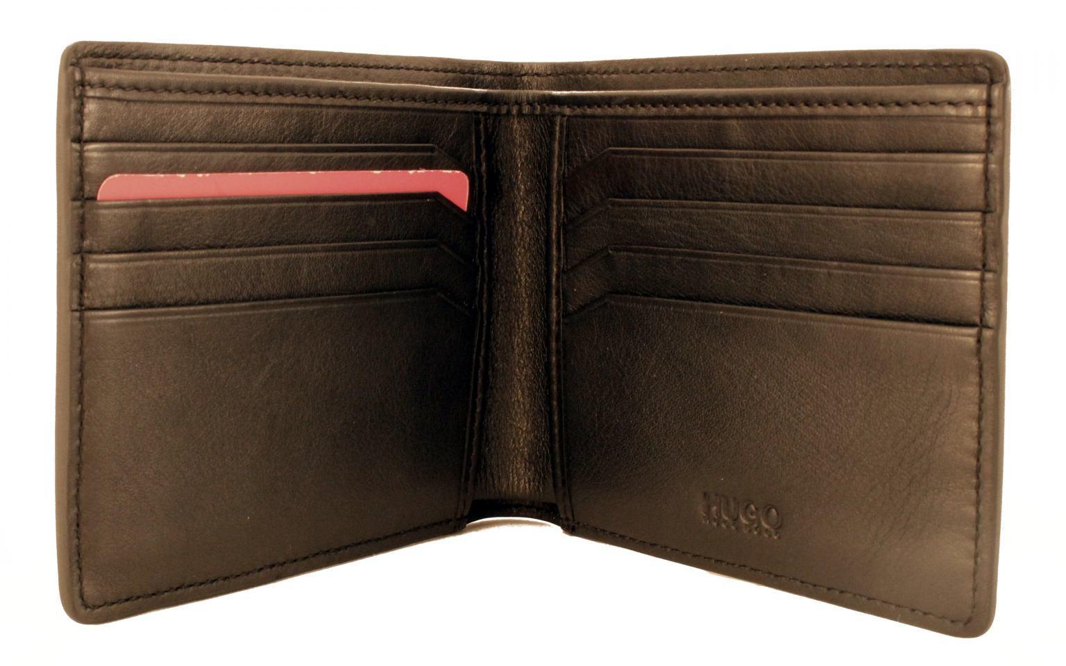 Hugo Boss Brieftasche Leder ohne Hartgeldfach Schwarz