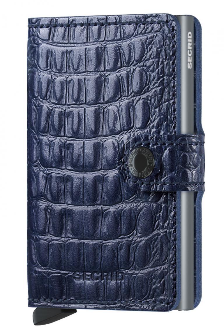 Kartenbörse Miniwallet Nile Blue Krokoprägung RFID-Schutz dunkelblau