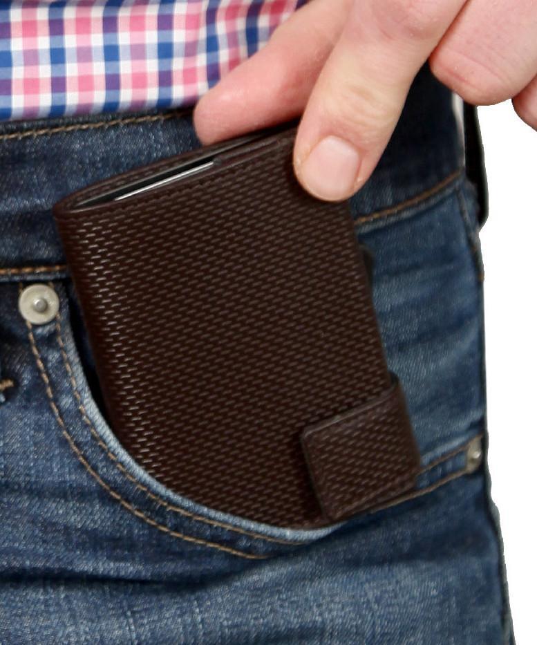 Kartenbörse mit Münzfach SecWal Osaka RFID Schutz braun