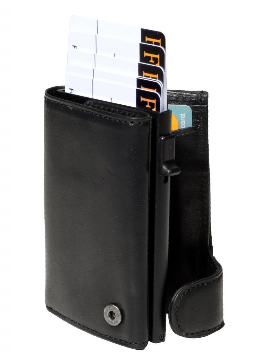 Kartenetui Furbo by Tony Perotti RFID Münzfach schwarz Leder