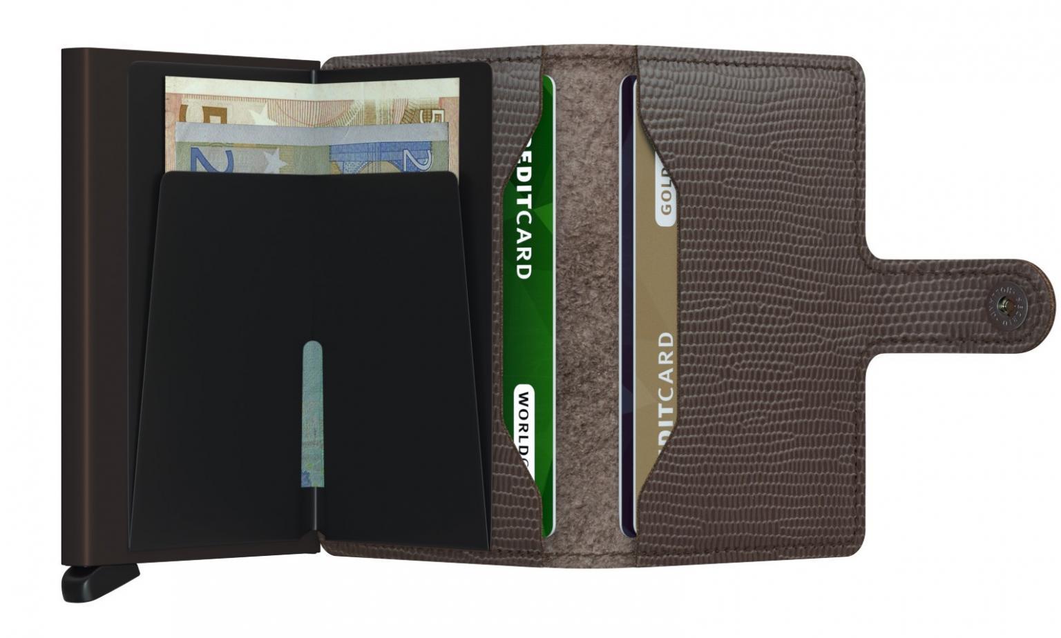 Kartenhülle mit Drücker Secrid Miniwallet Echsenprägung Braun
