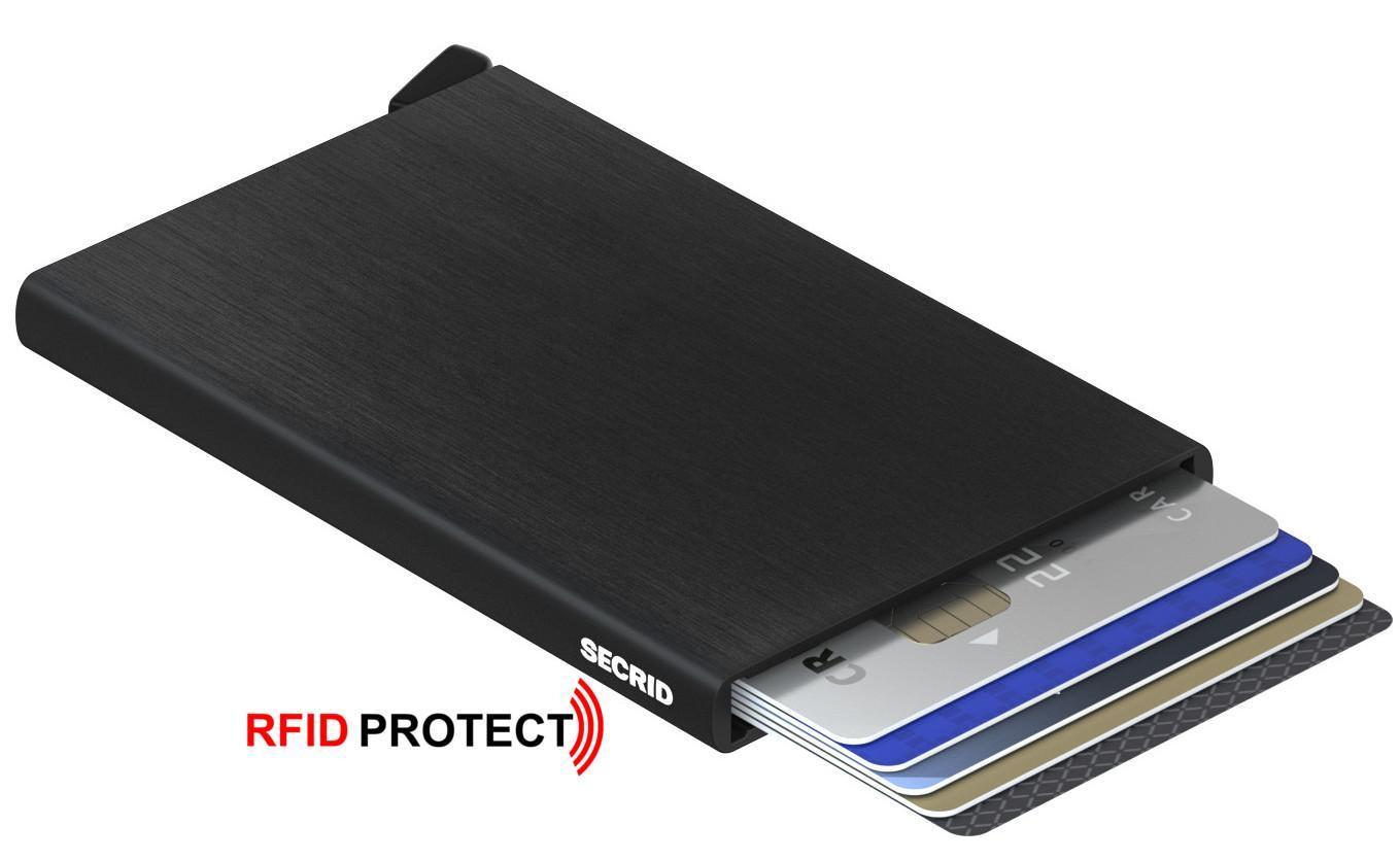 Kreditkartenetui Cardprotector Secrid Brushed Black schwarz