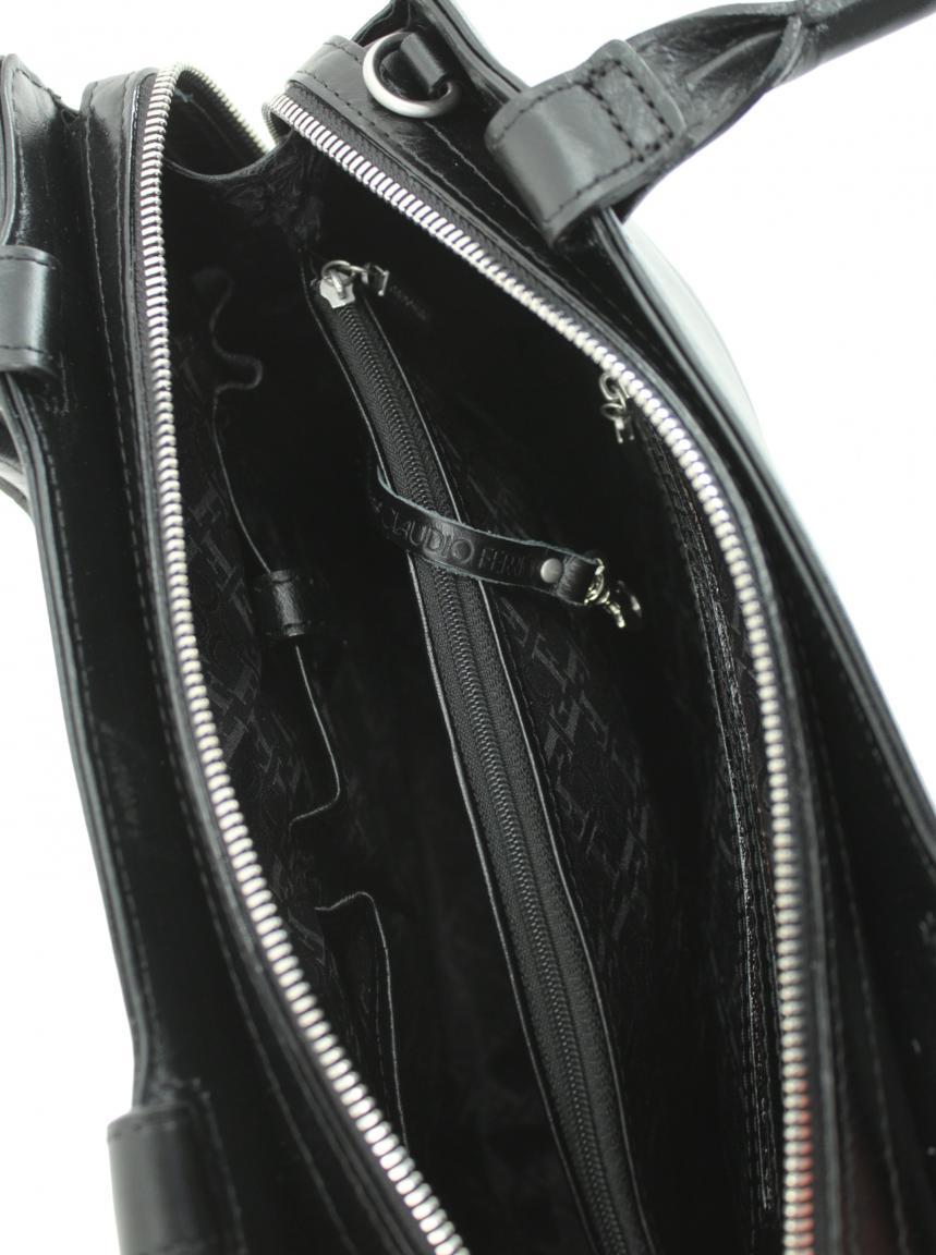Kurzgrifftasche Claudio Ferrici Spiegel schwarz Schultergurt