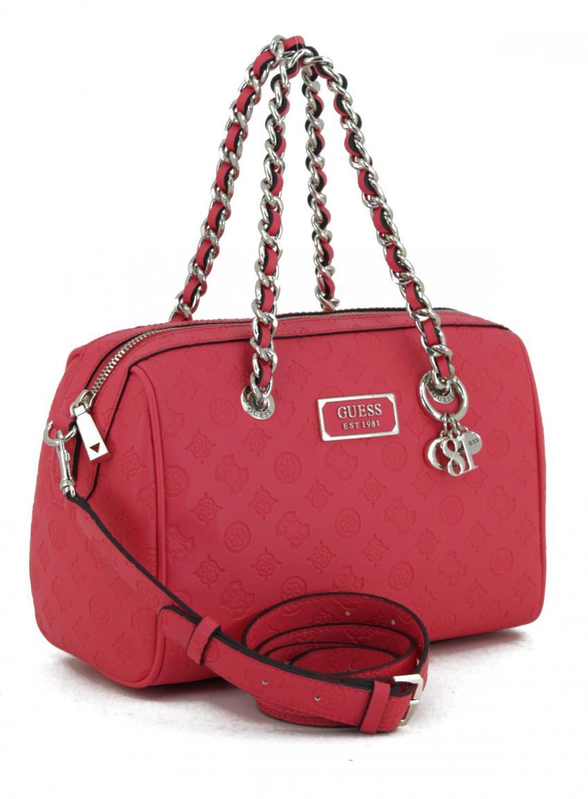 Kurzgrifftasche Guess Logo Love Hibiscus Pink