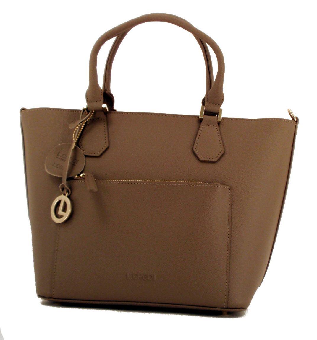 l credi shopper leder sonja taupe innen orange bags more. Black Bedroom Furniture Sets. Home Design Ideas