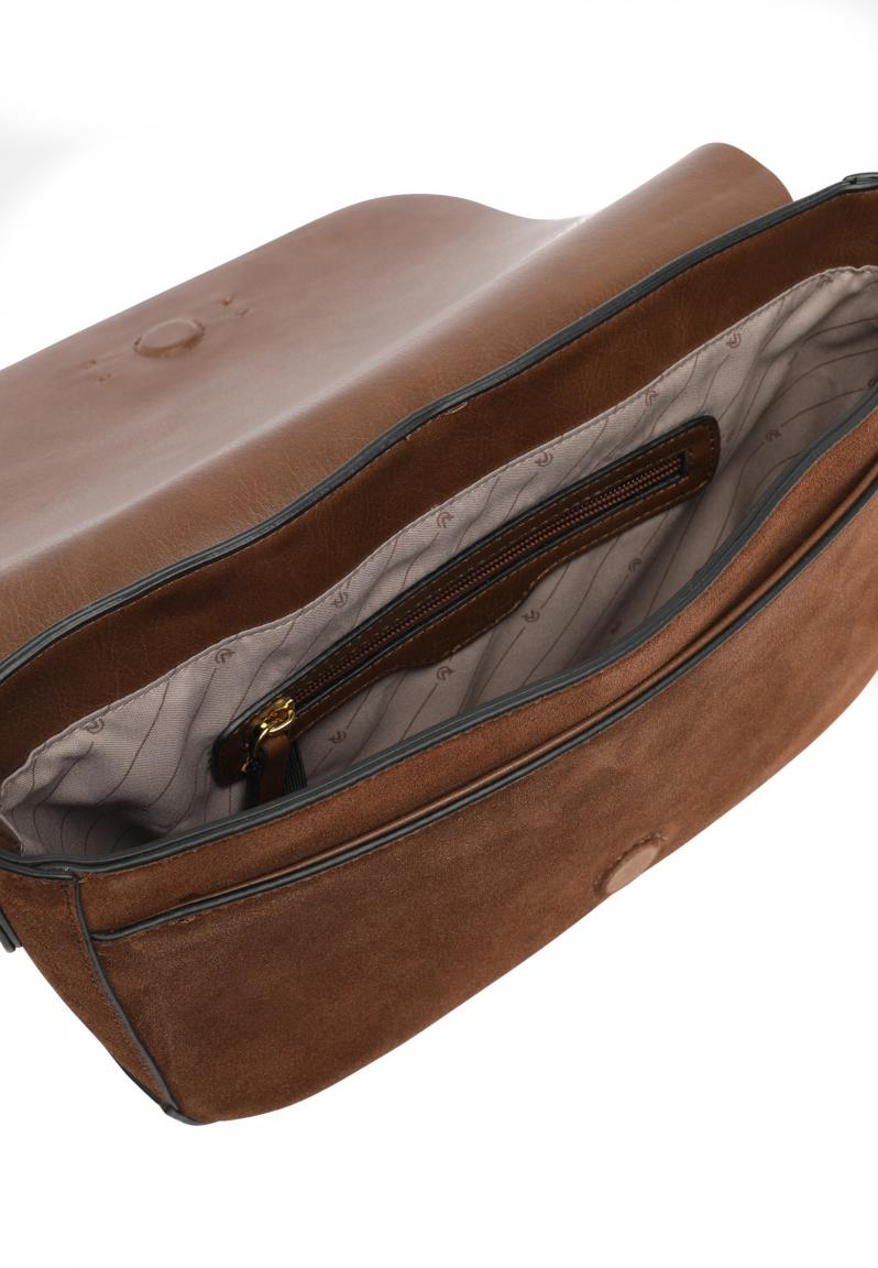 L.Credi Fioretta Cognac Überschlagtasche aus Veloursleder braun