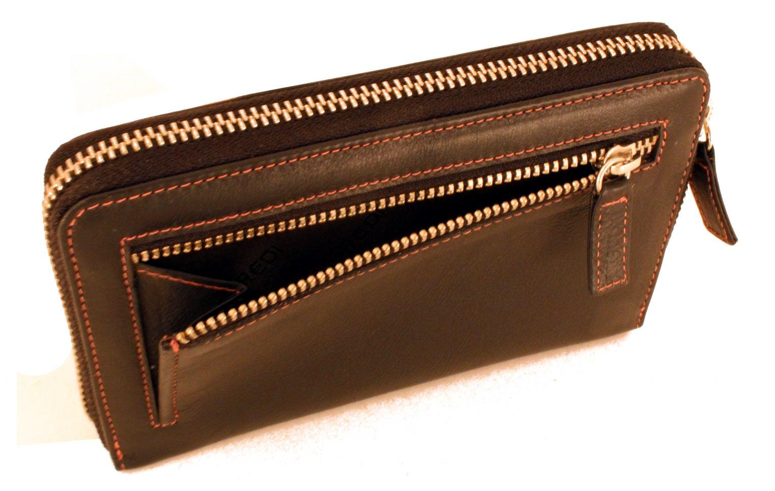 L.Credi Geldtasche Reißverschluss innen bunt Lila