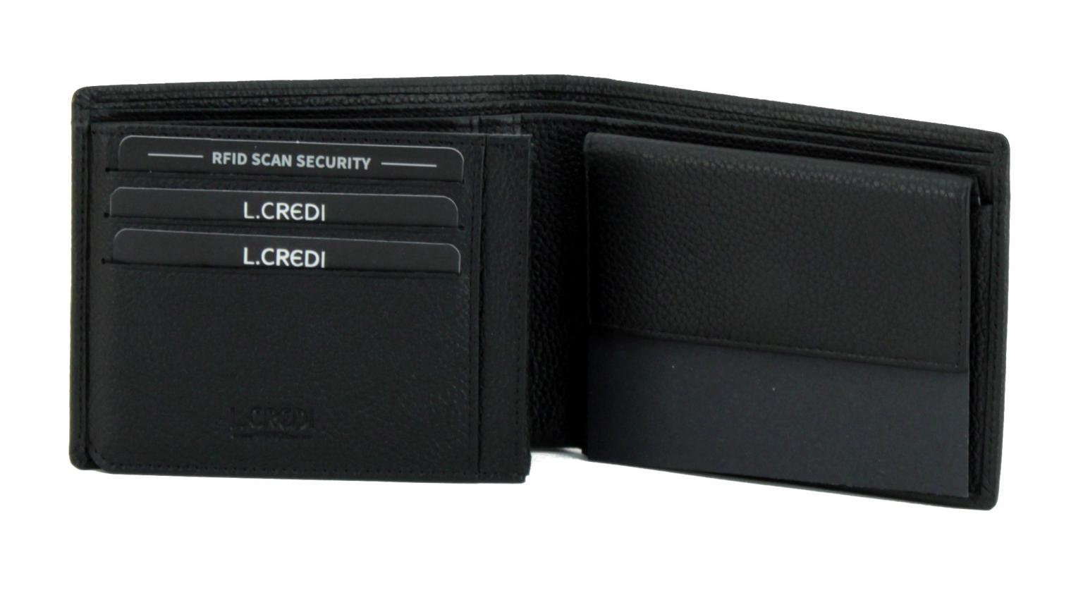 L.Credi Munich Alfredo Herrenbrieftasche RFID-Schutz schwarz
