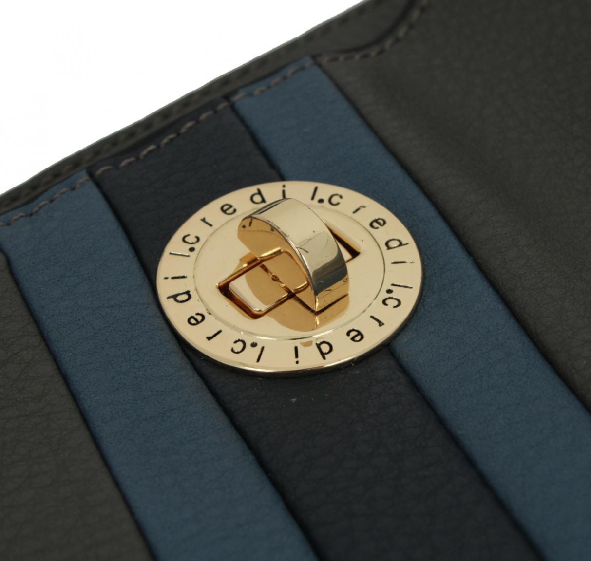 L.Credi Munich Brittany Beuteltasche mit Streifen grau blau