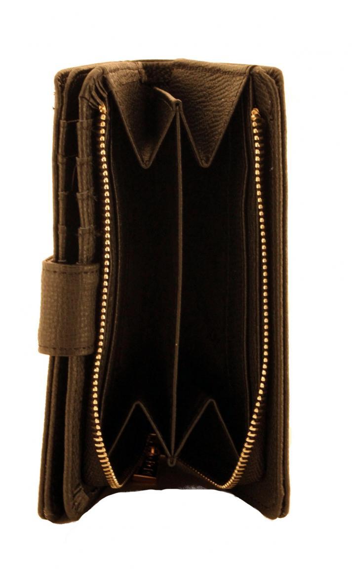 L.Credi Portmonee Reißverschluss Oxford Leder schwarz