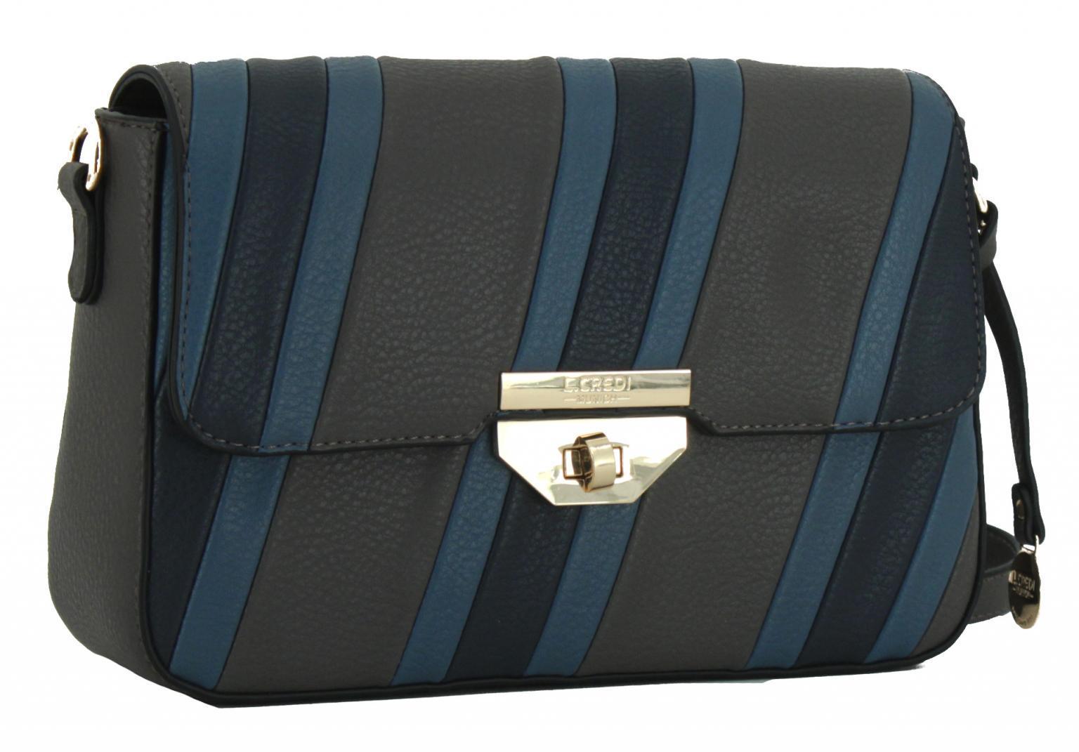 L.Credi Umhängetasche mit Überschlag Brittany grau blau