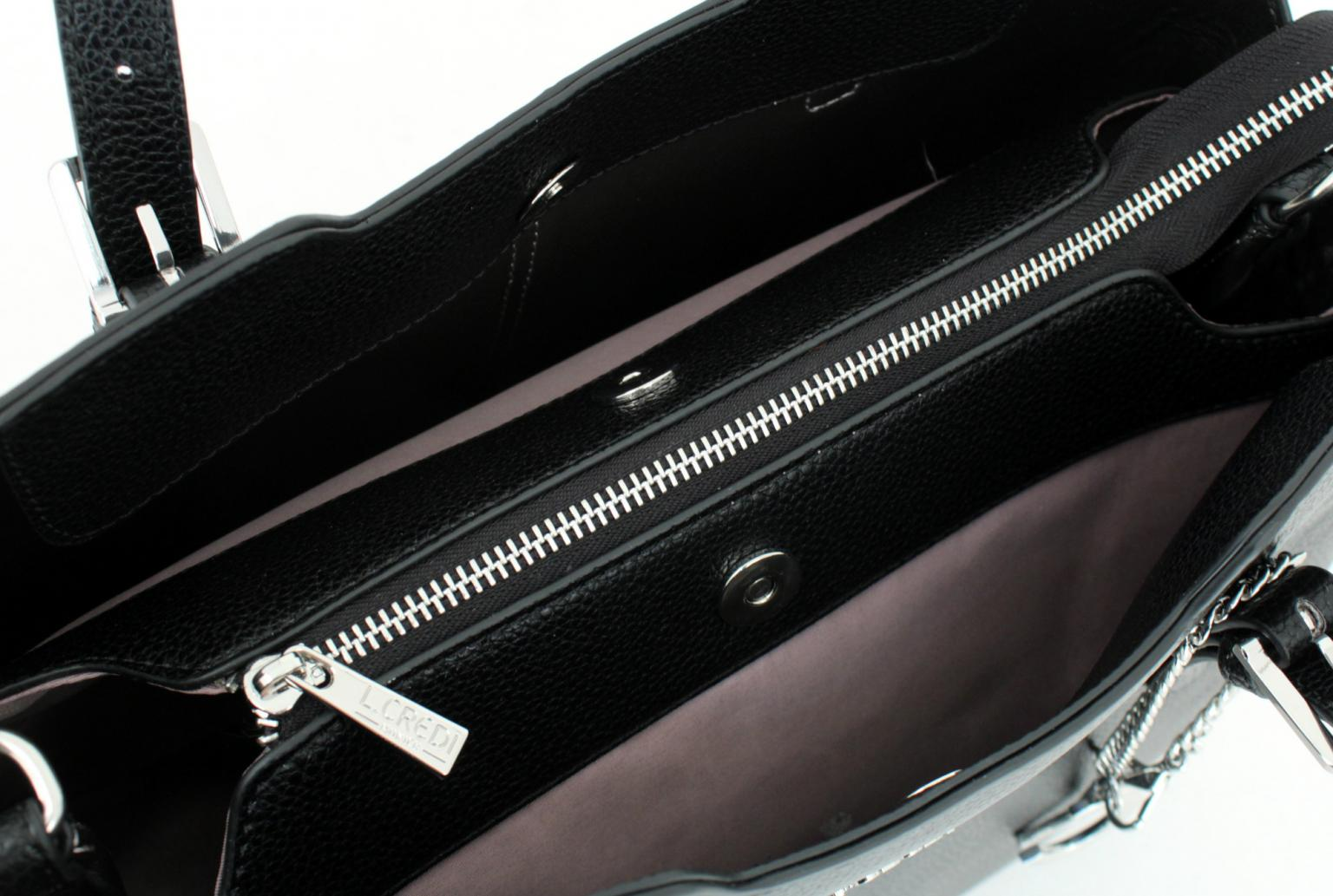 Lederhandtasche L.Credi Chiara schwarz silber Umhängegurt