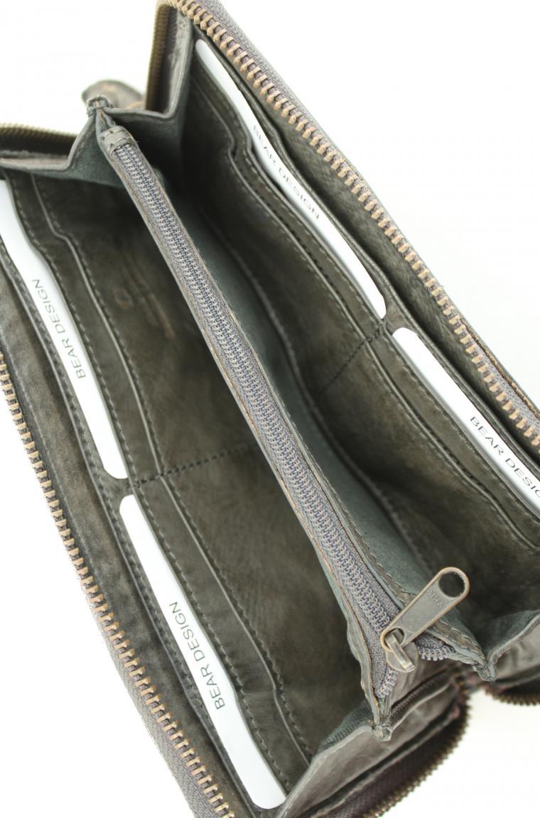 Lederportmonee bear bags New Woven grau geflochten