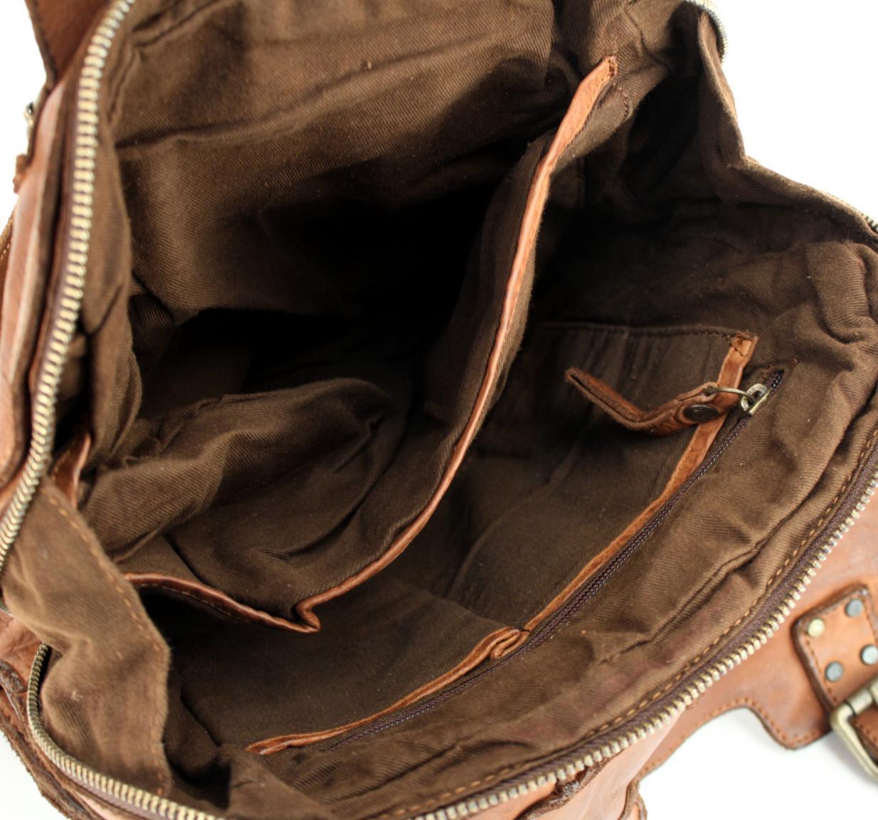 Lederrucksack Bear Bags Grizzly Bruin dunkelbraun Patchwork