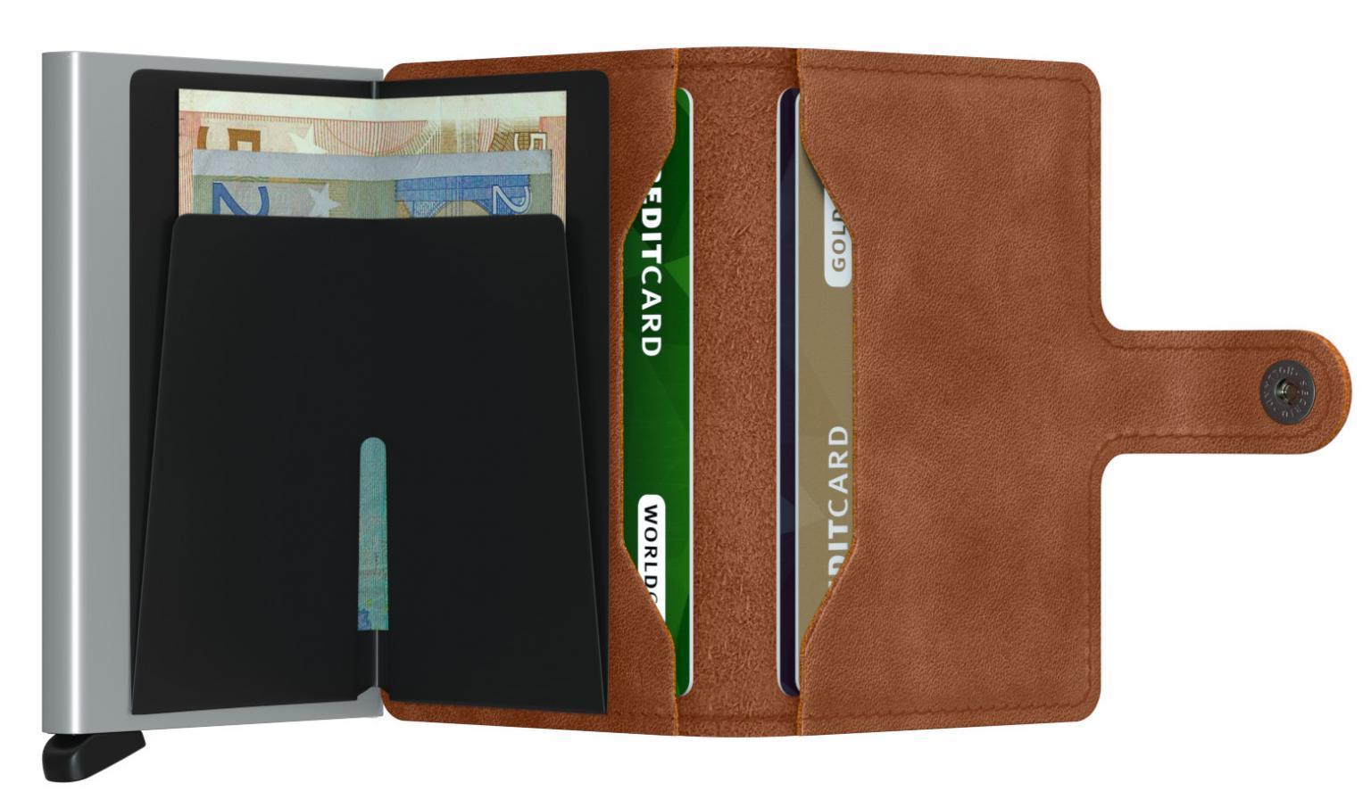 Miniwallet Secrid Chipkarten Etui RFID Vintage Cognac Silver
