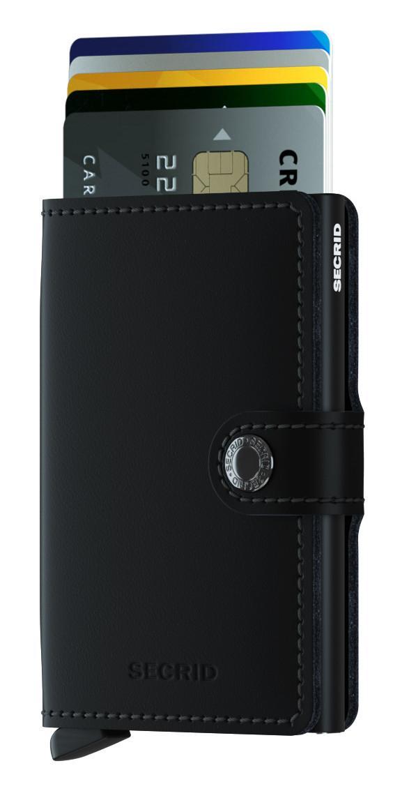 Miniwallet Secrid matt schwarz Chipkartenetui Druckknopf
