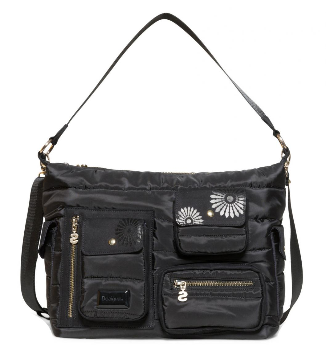 Multipocket-Tasche Desigual Magic Memphis schwarz Blumen