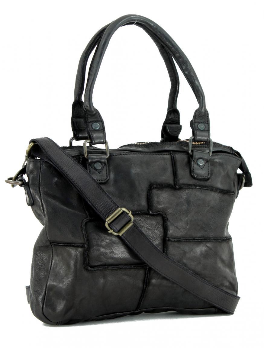 Patchworktasche Grizzly Bear Bags schwarz Vintage Leder