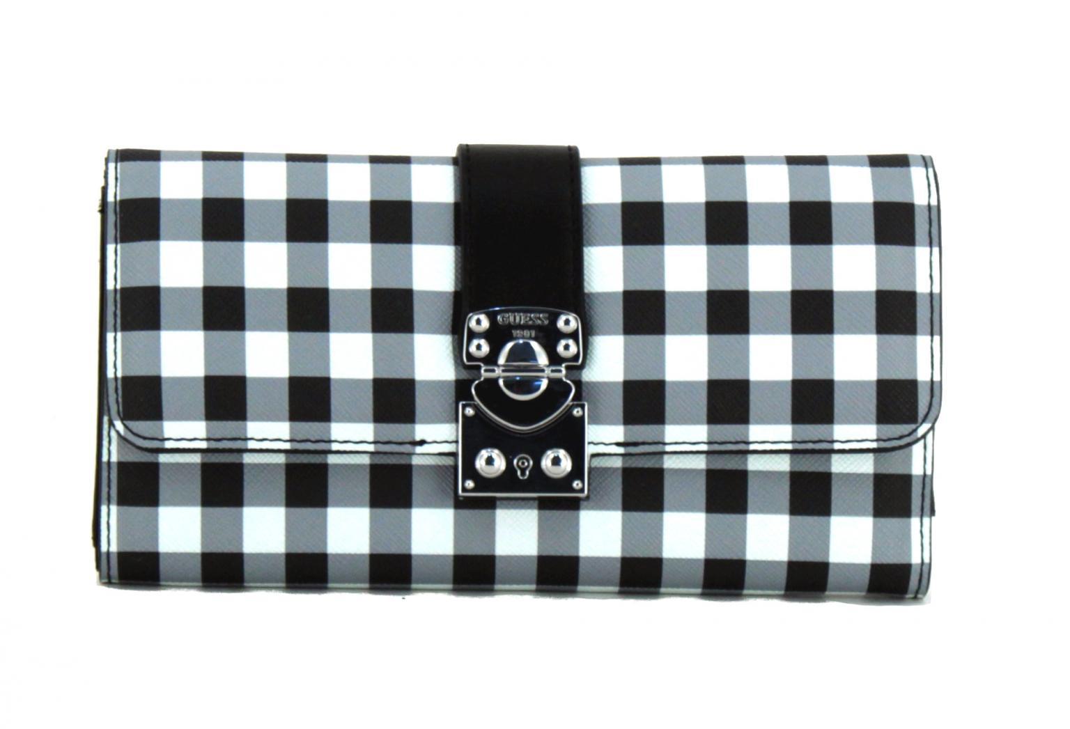 Portemonnaie Guess Digital Britta Checker kariert schwarz weiß
