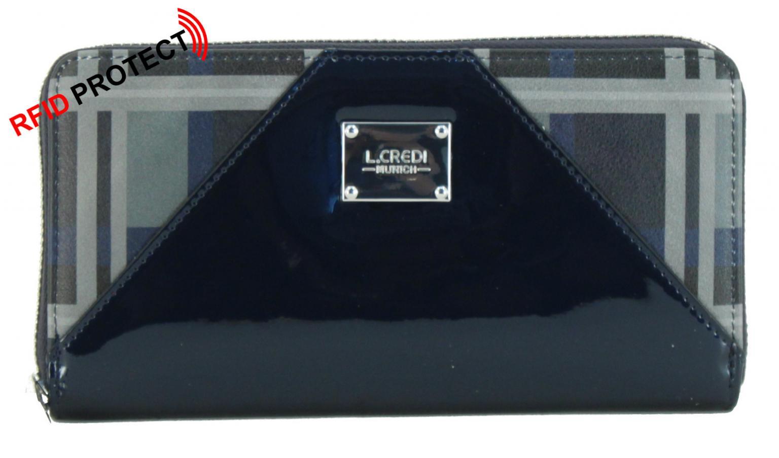 Portemonnaie L.Credi Briana RFID-Schutz marine blau Lack Karo