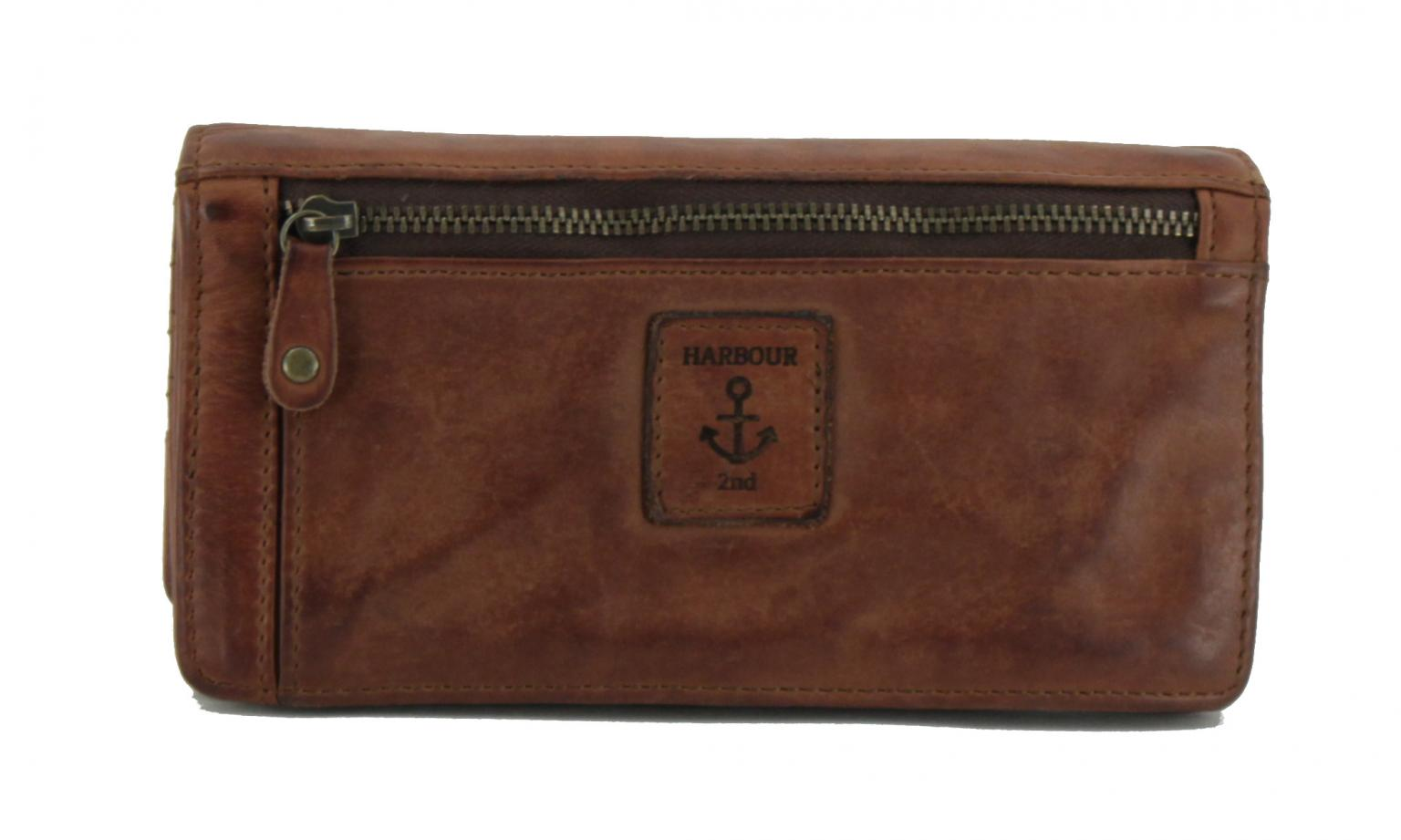 Portemonnaie Überschlag graubraun Leder Harbour 2nd Luja Stone