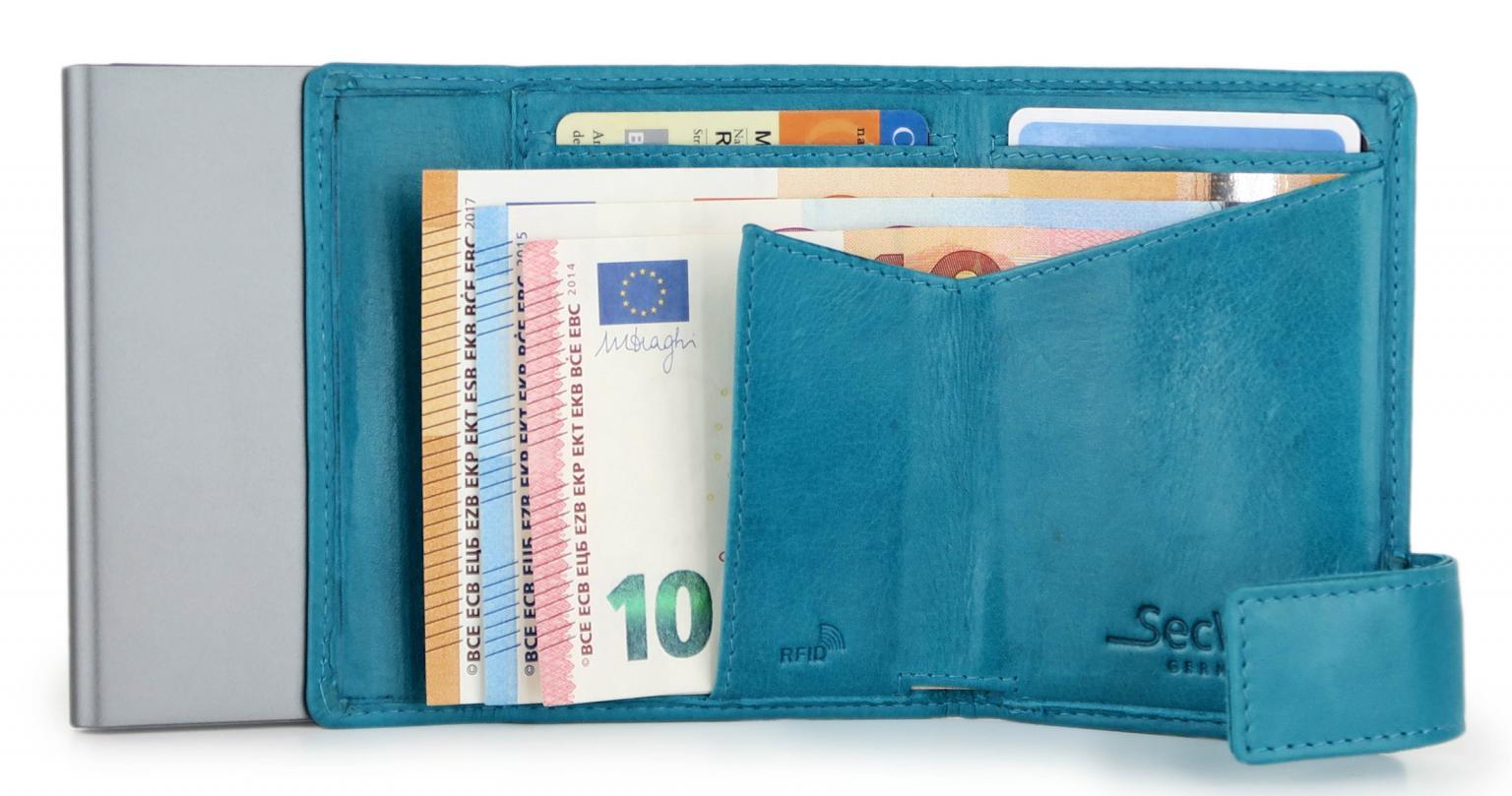 RFID-Schutzbörse SecWal Kartenetui Vintage Münzfach türkis