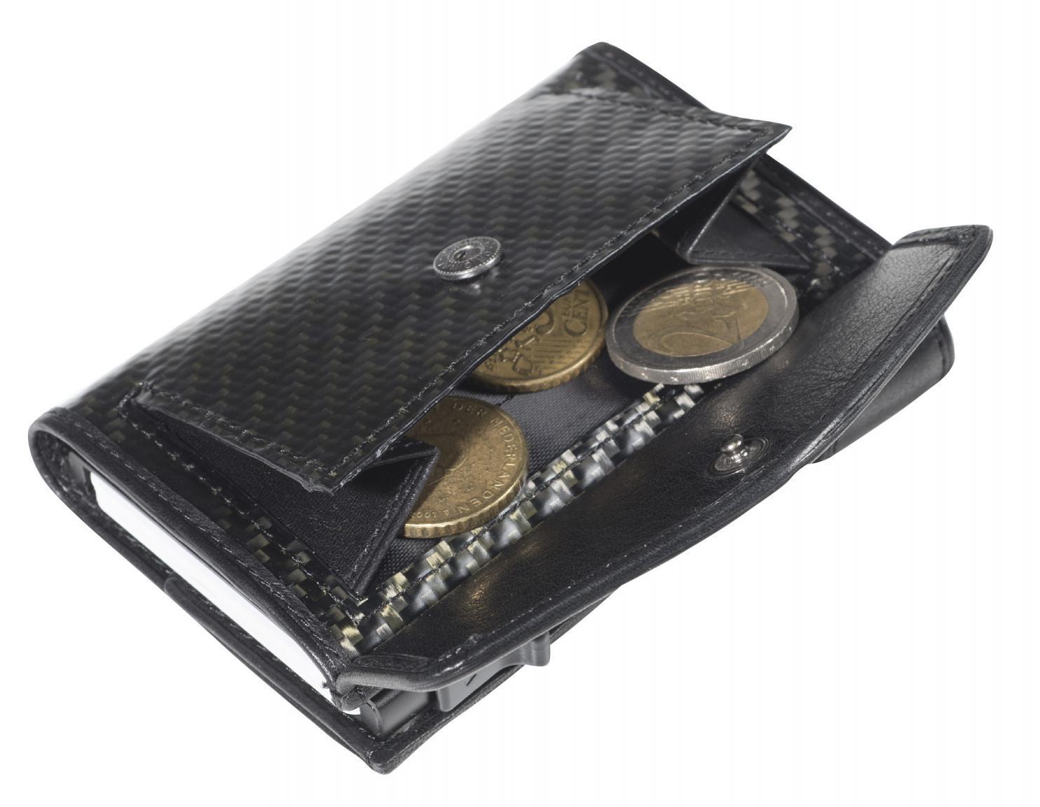RFID-Schutzetui Tony Perotti Carbonstruktur schwarz Münzfach