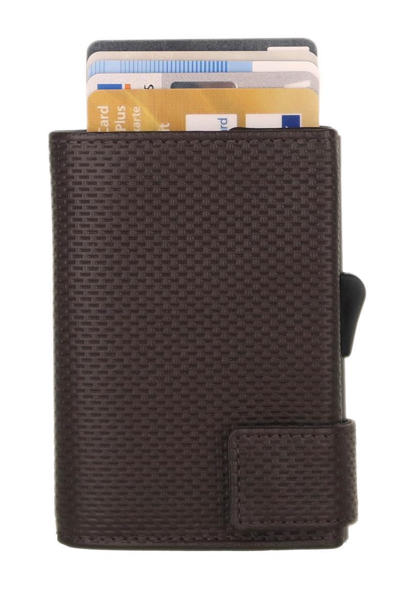 RFID-Schutzhülle SecWal Osaka braun geprägtes Leder