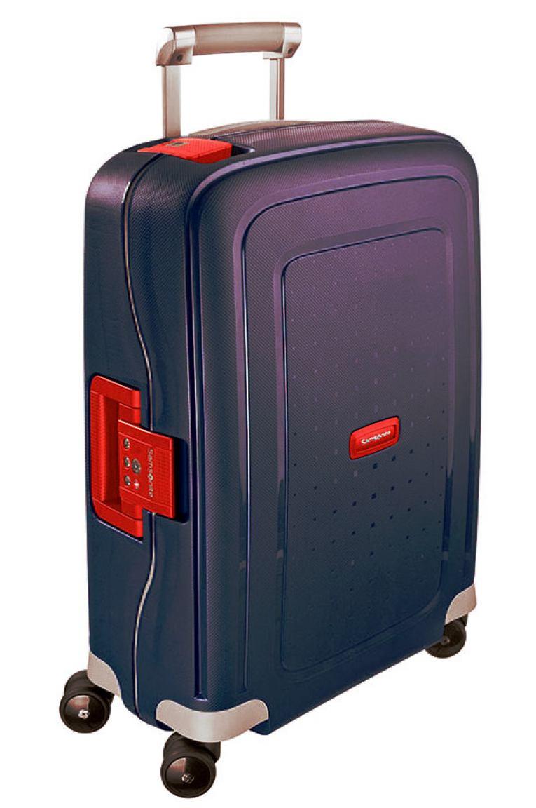 samsonite s 39 cure handgep ck trolley 55cm blau mit rot bags more. Black Bedroom Furniture Sets. Home Design Ideas